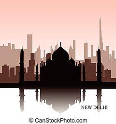 New Delhi cityscape - Colored cityscape of New Delhi with...