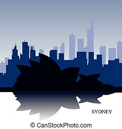Sidney cityscape - Blue cityscape of Sidney with text,...