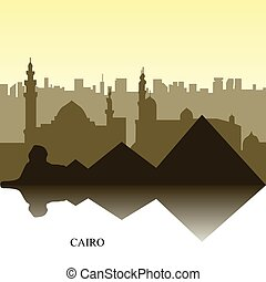 Cairo cityscape - Colored cityscape of Cairo with text,...