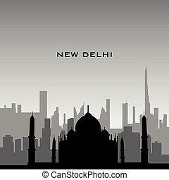 New Delhi cityscape - Black cityscape of New Delhi with...
