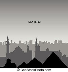 Cairo cityscape - Black cityscape of Cairo with text, Vector...