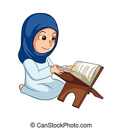 Girl Reading Quran The Holy Book Of Islam