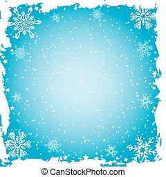 Snowflake grunge frame, vector - Snowflake grunge frame,...