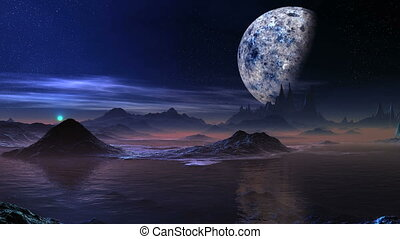 Alien Blue Sunrise And A Huge Moon - Low cliffs and hills...