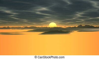 Bright Sunrise Over The Foggy Valley - Above the valley of...
