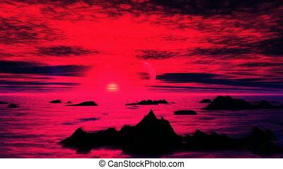 Surreal Sunset On An Alien Planet - Dark mountain peaks...