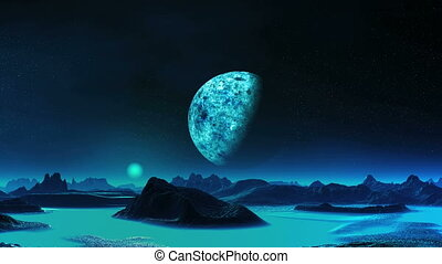 Blue Moon Rise On An Alien Planet - Mountains and the hills...