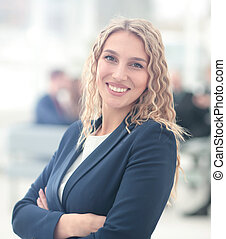 Portrait of happy smiling business woman - Group of business...
