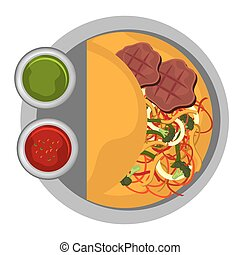 Delicious food over white background, vector illustration.
