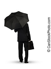 Businessman with umbrella - Rear view of businessman with...