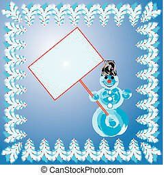 Snow man background, vector illustration