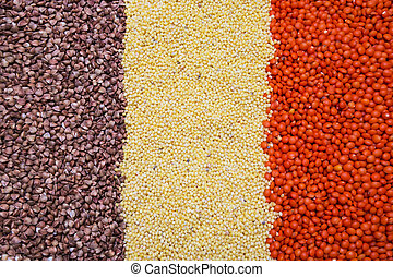 buckwheat, millet, lentil background, texture