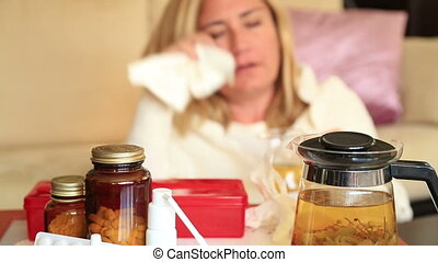 Pills and nose drops  treatment of colds, flu and runny