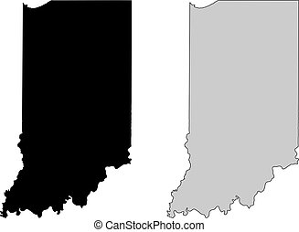 Indiana map. Black and white. Mercator projection.
