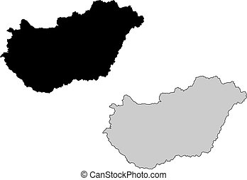 Hungary map. Black and white. Mercator projection.