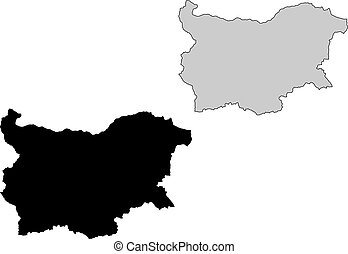 Bulgaria map. Black and white. Mercator projection.