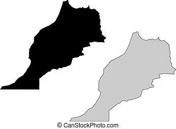 Morocco map. Black and white. Mercator projection.