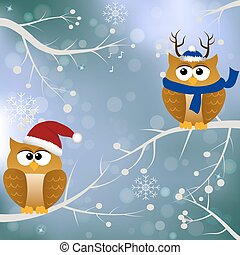 winter card with birds - High quality original trendy vector...