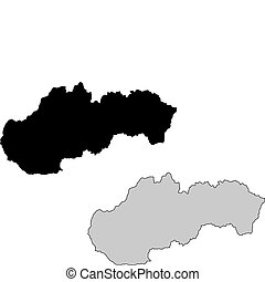 Slovakia map. Black and white. Mercator projection.