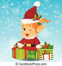 Happy Smiling Boy Christmas Santa s Elf - High quality...
