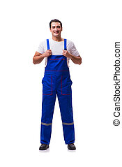 Handsome repairman wearing coveralls isolated on white