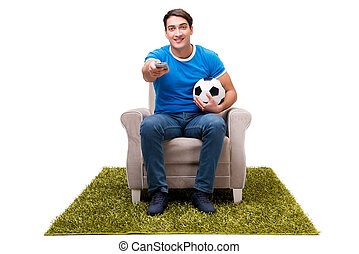 Man watching football isolated on white
