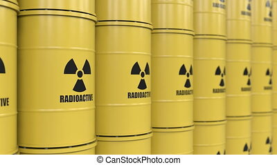 Toxic waste - Yellows barrels containing radioactive...