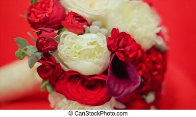 Flower Wedding Bouquet Isolated on Red Background white