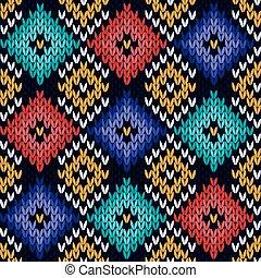 Seamless knitted colorful pattern - Checkered quadratic...