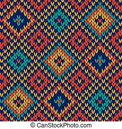 Seamless knitted colorful checkered pattern - Checkered...