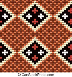 Seamless knitted colorful pattern with rhombus - Rhombus...