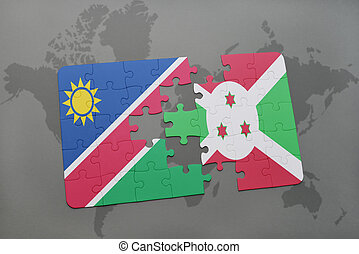 puzzle with the national flag of namibia and burundi on a...