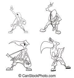 Cartoon metal musicians - line drawing vector illustration...