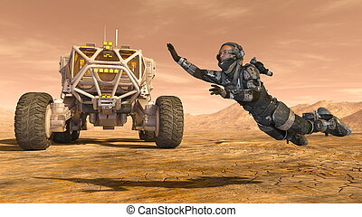 Astronaut and a space rover - 3D CG rendering of an...