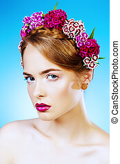 premonition of spring - Beauty portrait. Attractive young...