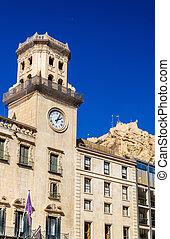 Facade of the town hall in Alicante, Spain - Facade of the...