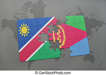 puzzle with the national flag of namibia and eritrea on a...