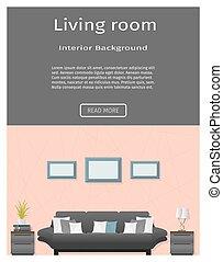 Website banner for modern living room interior. Flat vector...