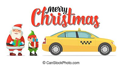Santa Claus, elf and taxi with shadow and boxes. For New...