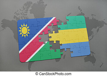 puzzle with the national flag of namibia and gabon on a...