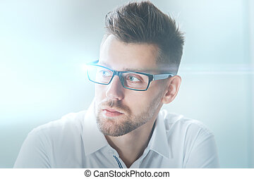 Businessman in glasses - Close up portrait of attractive...