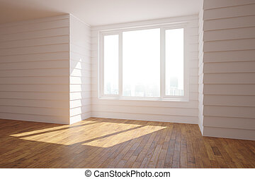 Spacious white interior with sunlight - Side view of...