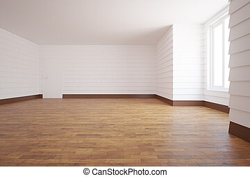 Unfurnished white room with wooden floor, door, window and...