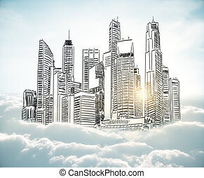 Urban art concept City sketch in cloudy sky. - City sketch...
