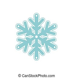 Vector bluish snowflakes icon with thin stroke line isolated...