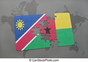 puzzle with the national flag of namibia and guinea bissau...
