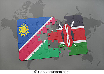 puzzle with the national flag of namibia and kenya on a...