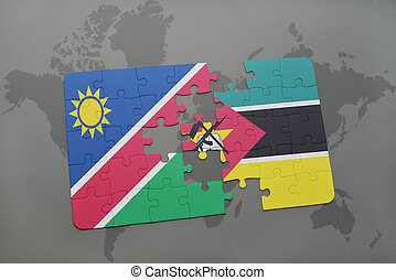puzzle with the national flag of namibia and mozambique on a...