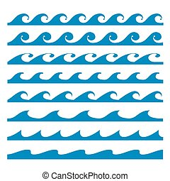 Blue water waves icons set on white background. Vector...