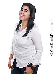 Happy Asian Woman Over White - Photo image portrait of a...